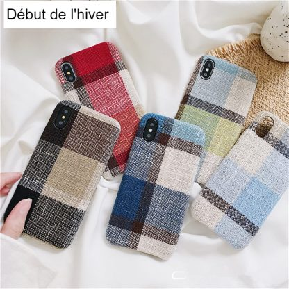 Coque tissu carreaux iPhone 7 6 6s 7 8 plus X Xs max XR et iPhone 11